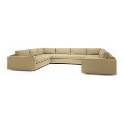 "True Modern - Jackson ""U"" Shaped Sectional, Red - U need a sofa that suits your social life and now U have it. This U-shaped sectional is designed to keep conversation flowing - and don't let the modern look fool you. With its oversized seat, arms and pillows - plus cushions engineered to keep the stuffing in place - it's as much about comfort as sleek style."