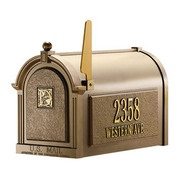 "Frontgate - Capitol Monogrammed Mailbox - Sure to make an impression compatible with your home, our incredibly rugged Capitol Monogrammed Mailbox is ready for personalization. Step by step, you can create the perfect curbside accessory that truly outshines the restStart with the powdercoated, rust-proof, cast-aluminum, oversized staked mailbox. Monogram the mailbox door with one 3"" golden-bronze initial. Personalize panels on both sides of the mailbox (top line accommodates up to five 3"" numerals; bottom line, 16 1-1/4"" characters/spaces). Optional arched Mailbox Topper, the perfect spot for your family's name, accommodates up to 14 1-1/4"" characters/spaces. Complete the look with the optional extruded aluminum Post & Bracket to match. Please check for accuracy; personalized orders cannot be modified, cancelled, or returned after being placed. cters elevate personalization to a fine art. Assembly required: Simply drill holes in mailbox to attach the plaques. Plaques made in USA.Limited lifetime warranty. Also available without monogram."