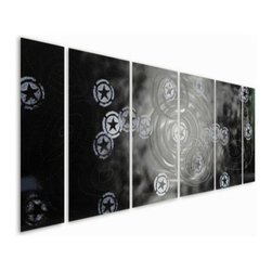 Pure Art - Beyond This Universe Aluminum Wall Art Set of 6 - Get out of this world styling with this large grouping of metal wall art! The Beyond this Universe Aluminum Wall Art pays homage to the fact that we are not alone, that there are other heavenly bodies out there, floating around!  This large set of metal wall art is hand painted and hand crafted using premium materials and aluminum.  Six panels come together to form a fun grouping with a backdrop of black and celestial floating bodies.  Ideal for hanging atop a couch, sofa, or other large furniture itemMade with top grade aluminum material and handcrafted with the use of special colors, it is a very appealing piece that sticks out with its genuine glow. Easy to hang and clean.