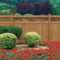 Privacy Fences: Arrowwood - Sturdy and stylish, the Arrowwood Series features GlideLock for privacy and strength, and SolarGuard for lasting color.  Arrowwood comes in three heights and color options include white, wicker, sand, and cypress.