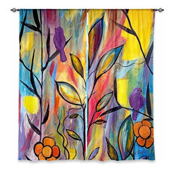 """DiaNoche Designs - Window Curtains Lined by Ruth Palmer Watching and Waiting - Purchasing window curtains just got easier and better! Create a designer look to any of your living spaces with our decorative and unique """"Lined Window Curtains."""" Perfect for the living room, dining room or bedroom, these artistic curtains are an easy and inexpensive way to add color and style when decorating your home.  This is a woven poly material that filters outside light and creates a privacy barrier.  Each package includes two easy-to-hang, 3 inch diameter pole-pocket curtain panels.  The width listed is the total measurement of the two panels.  Curtain rod sold separately. Easy care, machine wash cold, tumble dry low, iron low if needed.  Printed in the USA."""