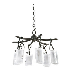 Kathy Kuo Home - Somerset Wrought Iron Organic Sculpted 6 Light Chandelier - Industrial and rustic elements come together in this unique chandelier to form a feminine, organic fixture that would be perfect in a lodge or loft.  Frosted glass, resembling ice is gently 'folded' over six light bulbs, which hang from a delicate stems of iron.