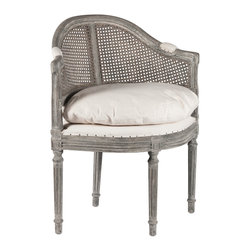 Antique Gray French Country Low Back Corner Occasional Chair - Our antique gray occasional chair is simple and sophisticated but sturdy enough to demand attention in any room. The perfect compliment to a bedroom corner, entry way to a home or nested in a study, our antique gray occasional chair embodies the essence of European elegance.