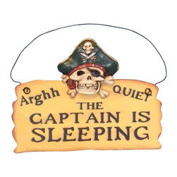 "Handcrafted Model Ships - Wooden Captain Is Sleeping Pirate Sign 8"" - Decorative Pirate Sign - Decorate your home with classic seafaring style, add to your collection of pirate decor, and mount this Wooden Captain Is Sleeping Pirate Sign 8"" in your home. This sign combines many pirate themed elements into one sign by adding a pirate skull, crossbones, eye patch, hat, and bandana."