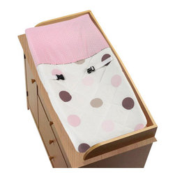 "Sweet Jojo Designs - Pink & Chocolate Mod Dots Changing Pad Cover - Mod Dots Chocolate & Pink changing pad cover will help complete the look of your Sweet Jojo Designs nursery. This changing pad cover can be used with standard or contoured changing pads up to 17"" x 31"".  It also has elastic edges for a tailored, snug fit."