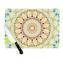 """Kess InHouse - Iris Lehnhardt """"Flourish"""" Circle Yellow Cutting Board (11.5"""" x 15.75"""") - These sturdy tempered glass cutting boards will make everything you chop look like a Dutch painting. Perfect the art of cooking with your KESS InHouse unique art cutting board. Go for patterns or painted, either way this non-skid, dishwasher safe cutting board is perfect for preparing any artistic dinner or serving. Cut, chop, serve or frame, all of these unique cutting boards are gorgeous."""