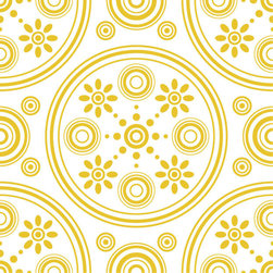 Odhams Press - Retro Daisies Yellow RETile Decal, White Background - RETile decals can be used to accent or transform your existing ceramic, stone or glass tiles. They are easy to apply and can be removed in the future without leaving a sticky residue.