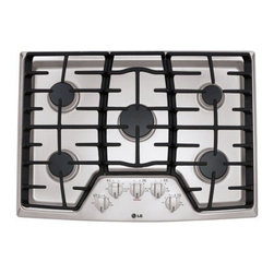 """LG - LCG3011ST 30"""" Sealed Burner Gas Cooktop With 5 Sealed Burners  Superbroil 17  00 - The LG 30 in gas cooktop features SuperBoil 17000 BTU burner that brings liquids to a boil quickly 5-burners that allow for more cooking and warming flexibility cast iron grates that keep cookware stable for even heating and under cooktop oven capabi..."""