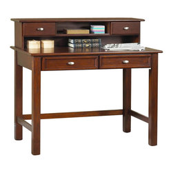 Home Styles - Home Styles Hanover Wood Laptop Writing Desk in Cherry - Home Styles - Computer Desks - 553216 - The Hanover Writing Desk lends a slight measure of European charm to your youth's bedroom or work area. Distinctive with it's squared block legs and over-frame drawer fronts the Hanover has stationery and implement storage covered with two pull drawers. A warm cherry finish completes the look and appeal of the Hanover Student Desk.