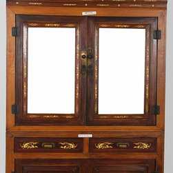 Cabinet with Mirrored Doors & Bone Inlay - Cabinet with Mirrored Doors & Bone Inlay