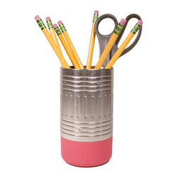 "Mess Eraser Pencil Cup - Getting organized doesn't have to be a chore. This quirky eraser-shaped pencil cup ought to give you a giggle while it gets your writing implements in order. The ""eraser"" is made of a non-scratch polymer that's gentle on your desk, while the upper portion is made of metal just like you remember from school."