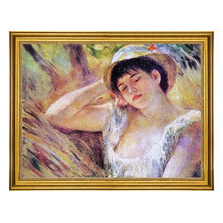 """Pierre Auguste Renoir-18""""x24"""" Framed Canvas - 18"""" x 24"""" Pierre Auguste Renoir The Sleeper framed premium canvas print reproduced to meet museum quality standards. Our museum quality canvas prints are produced using high-precision print technology for a more accurate reproduction printed on high quality canvas with fade-resistant, archival inks. Our progressive business model allows us to offer works of art to you at the best wholesale pricing, significantly less than art gallery prices, affordable to all. This artwork is hand stretched onto wooden stretcher bars, then mounted into our 3"""" wide gold finish frame with black panel by one of our expert framers. Our framed canvas print comes with hardware, ready to hang on your wall.  We present a comprehensive collection of exceptional canvas art reproductions by Pierre Auguste Renoir."""