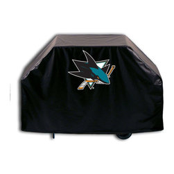 "Holland Bar Stool - Holland Bar Stool GC-SJShar San Jose Sharks Grill Cover - GC-SJShar San Jose Sharks Grill Cover belongs to NHL Collection by Holland Bar Stool This San Jose Sharks grill cover by HBS is hand-made in the USA; using the finest commercial grade vinyl and utilizing a step-by-step screen print process to give you the most detailed logo possible. UV resistant inks are used to ensure exeptional durablilty to direct sun exposure. This product is Officially Licensed, so you can show your pride while protecting your grill from the elements of nature. Keep your grill protected and support your team with the help of Covers by HBS!"" Grill Cover (1)"