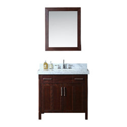 "Ariel - Redford 36"" Single-Sink Bathroom Vanity Set - Add this Redford single sink vanity set to your bathroom to create a luxurious look that is also functional. Finished in a rustic walnut stain with white carrera marble countertop, this Redford vanity set features 2 decorative top drawers over recessed split-panel doors, and a spacious interior for maximum storage."