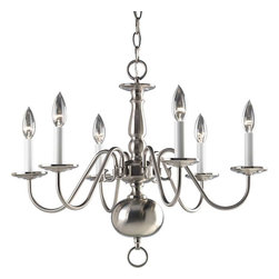 Progress Lighting - Progress Lighting P4356-09 Americana 6 Light Chandelier In Brushed Nickel - Progress Lighting P4356-09 Americana 6 Light Chandelier In Brushed Nickel