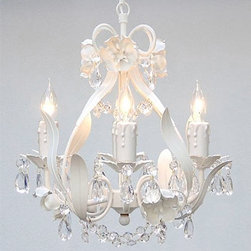 Gallery - Gallery T40-423 Wrought Iron 4 Light 1 Tier Crystal Mini Chandelier with Clear C - Features: