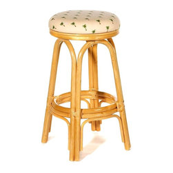 Hospitality Rattan - Indoor Swivel Rattan & Wicker Counter Stool w Cushion (Dupione Bamboo) - Fabric: Dupione Bamboo. This product is warranted for indoor use. Made of Rattan Poles and Woven Wicker. Traditional Indoor Wicker & Rattan Counter Stool. Includes cushion with choice of fabric in a variety of colors and patterns. Swivel Mechanism included. Constructed of commercial quality rattan poles. Pictured in Natural, finishes, and fabrics. Some assembly required. 16 in. W x 16 in. D x 23 in. H (13 lbs.). 16 in. W x 16 in. D x 29 in. H (13 lbs.)A traditional wicker and rattan swivel barstool that is built with solid rattan pole construction. The Carmen Collection offers three basic finishes. The barstools and counter stools feature commercial grade reinforced rattan bases, swivel mechanisms & reinforced double pole footrests. In addition your choice of over 45 fabrics is available on the Carmen Collection.