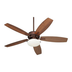 "Casa Vieja - Arts and Crafts - Mission 52"" Bellasario Oil-Brushed Bronze Ceiling Fan - The Casa Vieja™ Bellasario ceiling fan is a timeless addition to any home. Full of classic versatility this design looks great with any style of home decor. Five 52"" blades in a reversible dark walnut/mid-maple finish combine with an oil-brushed bronze finish for a stunning look. Dual-mountable with a three speed pull chain operation this fan comes with an integrated opal glass frosted light for warm illumination. Includes a 6"" downrod for convenience. Oil-brushed bronze motor finish. Five reversible dark walnut/mid-maple wood blades. 52"" blade span. 14 degree blade pitch. 6"" wide motor. Dual mountable. 3-speed pull chain operation. Integrated light kit. Includes two 13 watt CFL bulbs. Opal frosted glass. Includes 6"" downrod.  Oil-brushed bronze motor finish.  Five reversible dark walnut/mid-maple finish blades.  52"" blade span.  14 degree blade pitch.   153mm x 15mm motor.   3-speed pull chain operation.  Dual mountable.  Integrated light kit.  Includes two 13 watt CFL bulbs.  Opal frosted glass.  Includes 6"" downrod.   Fan height 12"" ceiling to blade (with 6"" downrod).  Fan height 17 3/4"" ceiling to bottom of light (with 6"" downrod).   Canopy 2 1/2"" high 6.7"" wide."