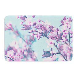"KESS InHouse - Monika Strigel ""Cherry Phantasy"" Blue Pink Memory Foam Bath Mat (17"" x 24"") - These super absorbent bath mats will add comfort and style to your bathroom. These memory foam mats will feel like you are in a spa every time you step out of the shower. Available in two sizes, 17"" x 24"" and 24"" x 36"", with a .5"" thickness and non skid backing, these will fit every style of bathroom. Add comfort like never before in front of your vanity, sink, bathtub, shower or even laundry room. Machine wash cold, gentle cycle, tumble dry low or lay flat to dry. Printed on single side."