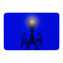 "KESS InHouse - BarmalisiRTB ""Octopus Bulb"" Blue Tentacles Memory Foam Bath Mat (17"" x 24"") - These super absorbent bath mats will add comfort and style to your bathroom. These memory foam mats will feel like you are in a spa every time you step out of the shower. Available in two sizes, 17"" x 24"" and 24"" x 36"", with a .5"" thickness and non skid backing, these will fit every style of bathroom. Add comfort like never before in front of your vanity, sink, bathtub, shower or even laundry room. Machine wash cold, gentle cycle, tumble dry low or lay flat to dry. Printed on single side."