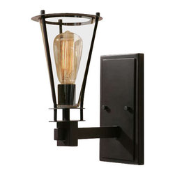 Uttermost Frisco 1 Light Rustic Wall Sconce - Plated cognac tinted glass accented with rustic black metal details. Plated cognac tinted glass accented with rustic black metal details. 40 watt antiqued style bulb included.