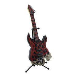 Zeckos - Screaming Skull Electric Guitar Coin Bank Piggy Bank with Stand - This highly detailed stylized screaming skull electric guitar coin bank is expertly cast in resin, and is an awesome accent to the homes of music lovers. It looks great on nightstands, end tables, shelves, and desks while providing convenient coin storage. Including the stand, this awesome red, black and white guitar bank measures 16 inches high, 7 inches long, 6 inches wide (41 X 18 X 15 cm), and it easily empties via a plastic plug on the back. This piece makes a great gift for guitar lovers or the rock star in your life sure to be admired