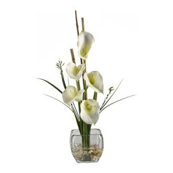 Calla Lilly Liquid Illusion Silk Flower Arrangement - Feast your eyes upon the wispy leaves and delicate hues of color that adorn this wondrous flower. Made of the finest material, the majestic beauty of this Lilly is held aloft by bamboo supports rising out of a bed of river rock submerged in artificial water. The sturdy, square glass vase brings this piece together, and gives it a poise that is unmatched. Height= 18 in x Width= 8 in x Depth= 8 in