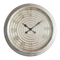 Cheung's - 24.5-Inch Silver Metal Wall Clock - - Attached hanging hooks  - Functioning clock  - Requires 1 AA battery  - Distressed finish  - Retro theme  - Product material: metal Cheung's - FP-3463