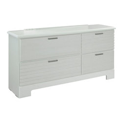 Standard Furniture - Standard Furniture Action 4-Drawer Dresser in White - A combination of smooth and textured white surfaces on clean square profiles creates actions distinctive modern look.