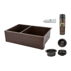 Premier Copper Products - KA40DB33229 Copper Sink w/Drain Package - 33 Inch Hammered Copper Kitchen Apron 40/60 Double Basin Sink with Matching Drains, and Accessories.