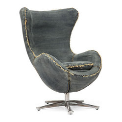 Zuo Modern - Winchester Armchair - Inspired by mid-century design, the Winchester armchair is the perfect blend of comfort and design. The body is wrapped in a denim fabric and the base is 100% chrome.