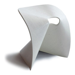 OSIDEA - Osidea Fortune Cookie Stool, White - This bent plywood stool is great for informal conversations at home, or casual seating in the office. It's surprisingly strong and durable because of its structure, materials and construction.