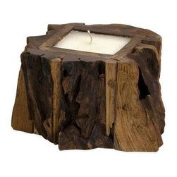 Small Teak Wood Candle - The rustic beauty of natural wood imbues the teakwood candle with the warmth and comfort of curling up in front of a warm fire with a cup of hot chocolate. The perfect touch when grouped with the medium and large teak wood candles and placed on your hearth.