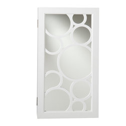 Holly & Martin - Zoey Wall-Mount Jewelry Mirror - Sophisticated yet simple, this white jewelry mirror provides an assortment of storage options and is the perfect solution to keep you organized. The fun, modern design brings both form and function into your home. The unit offers 14 hanging hooks, 16 earring notches, four cushioned ring holders, and a shelf for assorted pieces. This elegant wall mount jewelry mirror will be a beautiful addition to any bedroom, walk-in closet, bathroom or entryway.