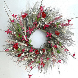 Frontgate - Quince Bramble Wreath - Designed for interior use. Extend the life of floral materials by keeping it away from direct sunlight and moisture. Suitable for year-round use. Embellish with ribbon for a special occasion. Nature's elegance is personified in our vibrant Quince Bramble Wreath. Reminiscent of a field of natural wildflowers, this colorful wreath features Artemisia, strawflowers, ammobium, pink larkspur, quail brush, green wheat, silk quince branches and silk diathus.  .  .  .  . Made in the USA.