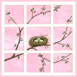 Happiness in Pink Nursery Wall Art by Sherri Blum for Oopsy Daisy - Happiness is a Full Nest in pink, nursery wall art for baby or canvas wall art for kids by Sherri Blum for Oopsy Daisy Art. Beautiful sentiment on kids canvas art that makes a perfect nursery wall hanging for your baby's nursery.  Available in blue, pink, ivory and green. By Sherri Blum, celebrity nursery designer and owner of Jack and Jill Boutique. Variety of sizes.
