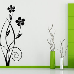 StickONmania - Flower Design #78 Sticker - A cool vinyl decal wall art decoration for your home  Decorate your home with original vinyl decals made to order in our shop located in the USA. We only use the best equipment and materials to guarantee the everlasting quality of each vinyl sticker. Our original wall art design stickers are easy to apply on most flat surfaces, including slightly textured walls, windows, mirrors, or any smooth surface. Some wall decals may come in multiple pieces due to the size of the design, different sizes of most of our vinyl stickers are available, please message us for a quote. Interior wall decor stickers come with a MATTE finish that is easier to remove from painted surfaces but Exterior stickers for cars,  bathrooms and refrigerators come with a stickier GLOSSY finish that can also be used for exterior purposes. We DO NOT recommend using glossy finish stickers on walls. All of our Vinyl wall decals are removable but not re-positionable, simply peel and stick, no glue or chemicals needed. Our decals always come with instructions and if you order from Houzz we will always add a small thank you gift.