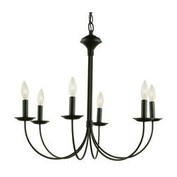 6-Light New Century Black Chandelier - I love the long, elegant lines of this black chandelier. It has a casual feel to it, but is classy enough for a formal room as well.