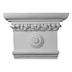 """Ekena Millwork - 24""""W x 16 1/2""""H x 6""""P Victorian Capital - 24""""W x 16 1/2""""H x 6""""P Victorian Capital. Our appliques and onlays are the perfect accent pieces to cabinetry, furniture, fireplace mantels, ceilings, and more. Each pattern is carefully crafted after traditional and historical designs. Each polyurethane piece is easily installed, just like wood pieces, with simple glues and finish nails. Another benefit of polyurethane is it will not rot or crack, and is impervious to insect manifestations. It comes to you factory primed and ready for your paint, faux finish, gel stain, marbleizing and more."""