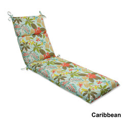 Pillow Perfect - Outdoor Fancy A Floral Chaise Lounge Cushion with Ties - Lounge around in style and comfort on the Fancy A Floral weather and UV-resistant outdoor chaise lounge cushion with ties that attach securely to furniture.