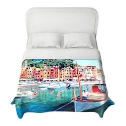 DiaNoche Designs - Portofino Duvet Cover - Lightweight and super soft brushed twill duvet cover sizes twin, queen, king. Cotton poly blend. Ties in each corner to secure insert. Blanket insert or comforter slides comfortably into duvet cover with zipper closure to hold blanket inside. Blanket not Included. Dye Sublimation printing adheres the ink to the material for long life and durability. Printed top, khaki colored bottom. Machine washable. Product may vary slightly from image.