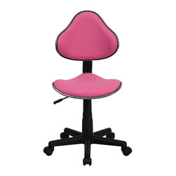Flash Furniture - Pink Fabric Ergonomic Task Chair - This attractive task chair features a contoured shaped seat and back with chrome metal band accent. Whether for the kids or for your home office, this chair will be a perfect addition. This chair will be a welcome and personal addition for any home office or home study area.