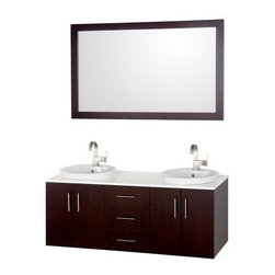 Wyndham Collection Arrano 55-in. Double Bathroom Vanity Set - Provide a contemporary update to your bathroom with room for two by adding the Wyndham Collection Arrano 55-inch Double Bathroom Vanity to your home. This beautiful vanity set features a clean, modern design crafted from is quality constructed of beautiful natural wood veneers over solid oak hardwood to constructed of beautiful veneers over the highest grade MDF. Dual semi-recessed white porcelain sinks are complemented by the white class countertop. This set comes with ample storage within spacious cabinets and drawers that feature soft closing hinges and contemporary style brushed nickel handles. Includes matching framed mirror.About the Wyndham CollectionWyndham and the Wyndham collection are all about refinement, detailing, uniqueness, quality, and longevity. They are dedicated to the quality of their products and own the factory where each piece is constructed. This allows Wyndham to offer products that reflect the rigorous quality standards required for every piece that is offered to their customers. The Wyndham collection showcases elegant, modern design styles that highlight functionality and style in every detail.