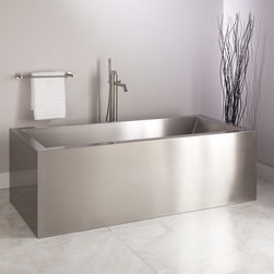 "72"" Ultro Brushed Stainless Steel Tub - Indulge in industrial style with the 72"" Ultro Freestanding Tub, which features an edgy rectangular shape and a Brushed Stainless Steel finish."