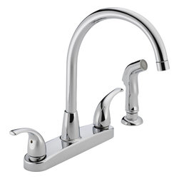 Peerless - Peerless Two Lever Handle Kitchen Faucet High Arc with Side Spray (P299578LF) - Peerless P299578LF Two Lever Handle Kitchen Faucet High Arc with Side Spray, Chrome