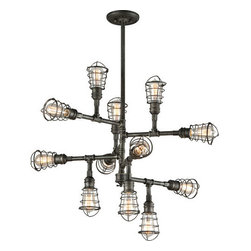 Troy Lighting - Troy Lighting F3817 Conduit 12 Light Industrial Chandelier with Wire Cage - Features: