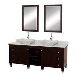 """Wyndham - Premiere 72"""" Double Bathroom Vanity Set - Espresso - A bridge between traditional and modern design, and part of the Wyndham Collection Designer Series by Christopher Grubb, the Premiere Single Vanity is at home in almost every bathroom decor, blending the simple lines of modern design like vessel sinks and brushed chrome hardware with transitional elements like shaker doors, resulting in a timeless piece of bathroom furniture.; Espresso Finish; Constructed of solid, environmentally friendly, low emissions wood, engineered to prevent warping and last a lifetime; Solid marble counter - White Carrera; Soft-close drawer glides; Soft-close doors; White Carrera Marble Sink; Includes matching mirror; Pre-drilled for single hole faucet, but can be drilled on-site for three hole faucets; Dimensions: Vanity 72 x 22-1/2 x 36 (including sink); Mirror 24-1/4 x 36-1/4"""