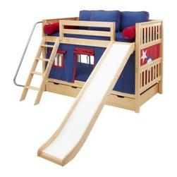 Laugh Boy Twin over Twin Slat Slide Tent Bunk Bed - Active little boys have a lot of energy to expend. The Laugh Boy Twin over Twin Slat Slide Tent Bunk Bed has plenty of features to keep up with busy boys - bright blue and red curtains that create a playhouse and a smooth sturdy slide - and when playtime is over two soft beds for rest and recharging. Crafted with durable solid birch this twin-size bunk bed also boasts slatted headboards and footboards sturdy square posts and an angled ladder with deep grooved steps and a safety railing. The top bunk's 11-inch guard rail helps prevent nighttime falls. Keep the bunk stacked in small rooms or easily break it down into two roomy beds for multiple kids. Add extra sleep space with an optional under-bed trundle or bolster bedroom storage with optional storage drawers built with a self-closing design strong dovetail joinery and smooth ball-bearing glides. Choose the bunk only the bunk and trundle or the bunk and storage drawers in a light natural wood finish. We take your family's safety seriously. That's why all of our bunk beds come with a bunkie board slat pack or metal grid support system. These provide complete mattress support and secure the mattress within the bunk bed frame. Please note: Bunk beds and loft beds are only to be used by children 6 years of age or older.