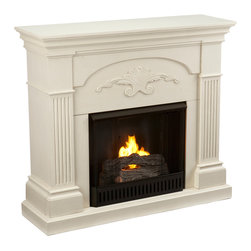 Holly & Martin - Salerno Fireplace, Ivory, Gel - Finished with a beautiful black color with gold tipping, the elegance of this fireplace is ideal for enhancing your home's cozy appeal. Fluted columns on each side and a decorative scroll applique create one beautiful home accent. All of your guests are sure to marvel at such a wonderful centerpiece. Portability and ease of assembly are just two of the reasons why our fireplace mantels are perfect for your home. Requiring no electrician or contractor for installation allows instant remodeling without the usual mess or expense. In addition to your living room or bedroom, try moving this fireplace to your dining room for romantic dinners or complement your media room with a vent less fireplace below your flat screen television. Use this great functional fireplace to make your home a more welcoming environment.