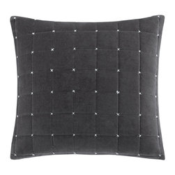 Madison Park - Madison Park Quilted Stitch Velvet Square Pillow - Add a modern pop to your space with this square cotton velvet pillow. The box quilt and stitch detail adds a refreshing and bold look to the classic velvet. Hidden zipper closure with polyester down alternative filling provides an incredibly comfortable pillow for you or your guests. Comes in a deep charcoal, this accent piece is an easy addition to your current d̩cor. 100% Cotton velvet quilted face; solid velvet reverse; hidden zipper closure; Lining: 100% Polyester; Filling: 100% Polyester with non-woven cover